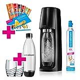 SodaStream Easy Wassersprudler-Set Promopack mit CO2-Zylinder, 2x 1 L PET-Flasche, 2x Trinkgläser,...
