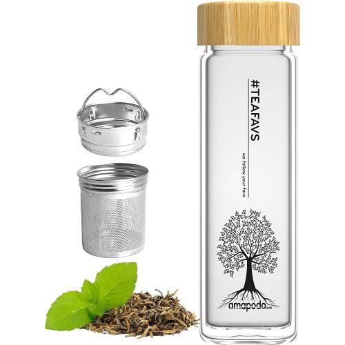 Amapodo Trinkflasche Glasflasche mit Teesieb